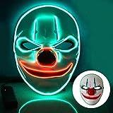 T98 Halloween Maske, LED Maske mit 3 Blitzmodi Clown Maske für Kinder Mann Frau,Weihnachten,...