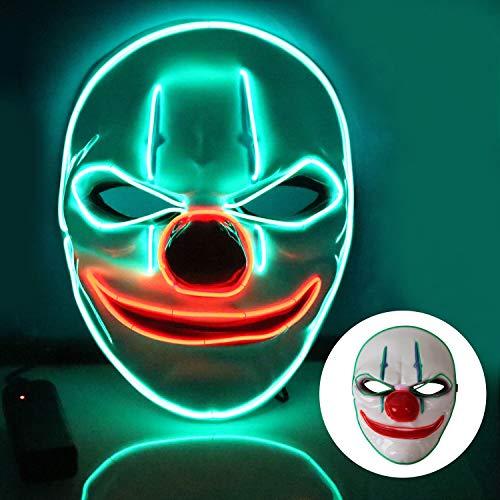 T98 Halloween Maske, LED Maske mit 3 Blitzmodi Clown Maske für Kinder Mann Frau,Weihnachten, Karneval, Party, Kostüm Cosplay, Dekoration