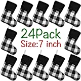 LimBridge Mini Christmas Stockings, 24 Pack 7 inches Buffalo Plaid with Plush Cuff, Classic Stocking Decorations for Whole Family, Black and White