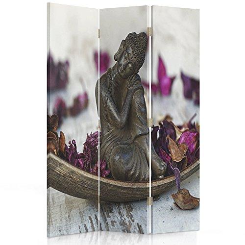 Feeby Frames Paravent déco Bouddha Impression 1 Face 3 pans Violet 110x150 cm