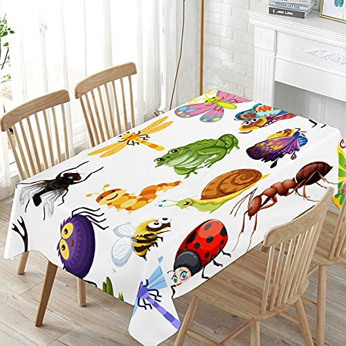 LIUBT Funny Cartoon Insect Bee Snail Frog Fly Butterfly Rectangle Tablecloth Wedding Party Dining Room Picnic Kitchen Washable Table Cover, 60 W X 60 L inches