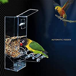 Automatic Bird Feeder No Mess Acrylic Bird Seed Feeder for Cage Accessories Home Birds Automatic Foraging Systems Food Feeding Station for Parrots Seed Food Container