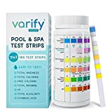 Premium Pool and Spa Test Strips - 100 ct - 7 Way Accurate Testing Strip for Pool + Hot Tub | Chlorine Bromine Alkalinity pH Hardness & Cyanuric Acid | Water Quality Testing Kit for Water Maintenance