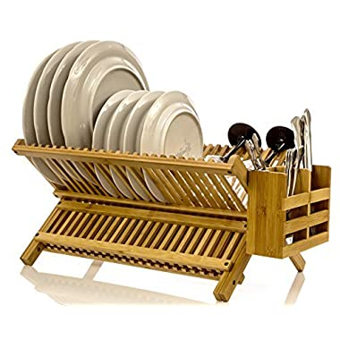 Intriom Bamboo Dish Rack With Utensil Holder Set Scissor Style Foldable (Dish Rack)