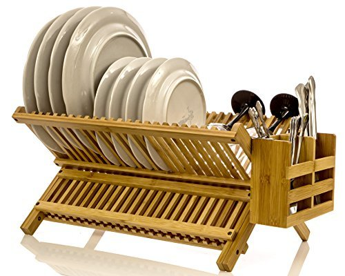 Intriom Bamboo Folding 2-Tier Collapsible Drainer Dish Drying Rack With Utensils Flatware Holder Set (Dish Rack)
