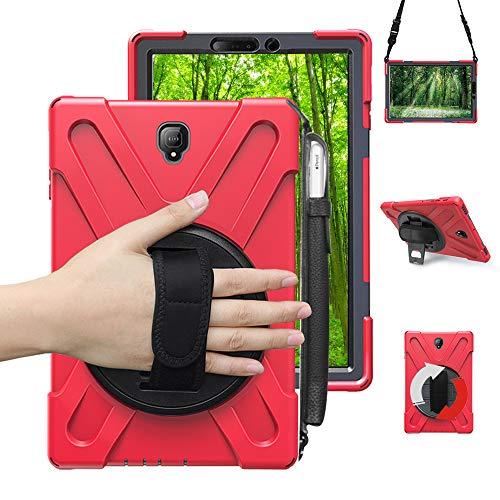 Junfire Schutzhülle für Samsung Galaxy Tab S4 T830/ T835/ T837(10,5 Zoll) 2018 Hülle,stoßfest and robust, 360 Grad drehbar, Standfunktion Hülle (mit Stifthalter, Rot mit Stifthalter)
