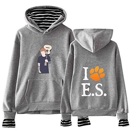 Ed Sheeran Pullover Mode Druck Herbst-Winter-T-Shirt Trendy Design-Fälschung Zwei Stücke Pullover Ed Sheeran Kapuzenpullover (Color : Grey01, Size : Height-155cm(Tag XS))