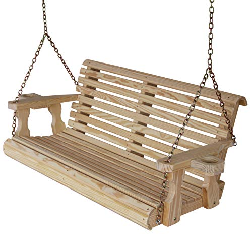 Amish Heavy Duty 800 Lb Roll Back 5ft. Treated Porch Swing with Cupholders