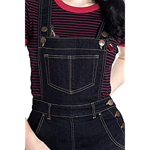 Hell Bunny Elly May Denim Jeans Landgirl 40s 50s Retro Rockabilly Dungarees - Navy Blue (3XL)