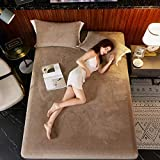 Solid Color Flannel Bed Sheet Milk Velvet Fitted Sheet Elastic Bed Linen Mattress Cover Queen King Size Bedding Set Bedspread