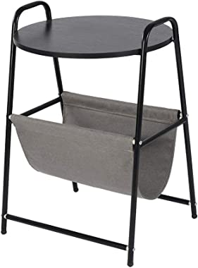 """JKRED Round Side Table Coffee Table Black Metal Frame Nightstand Laptop Desk Coffee Table with Cloth Storage Basket 17.7"""" x 1"""