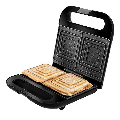 Cecotec Sandwichera Rock'nToast Sandwich Squared. 750 W, Capacidad 2 Sándwiches, Acabado en Acero Inoxidable, Placas Cuadradas con Revestimiento RockStone, Indicador Luminoso
