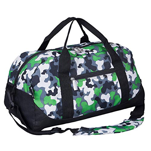 Wildkin Kids Overnighter Duffel Bags for Boys & Girls, Measures 18 x 9 x 9 Inches Duffel Bag for Kids, Carry-On Size & Ideal for School Practice or Overnight Travel, BPA-free (Green Camo)