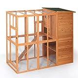 Sandinrayli Cat House Outdoor Run Wooden Cat Rabbit Home w/Outside Fun Run Small Animal Enclosure Cage