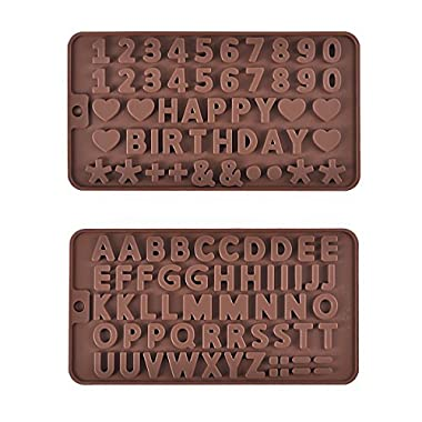 PROKITCHEN A to Z Letters fondant Mold,Silicone Number Mold for Happy Birthday Cake Decoration and Chocolate,Set of 2