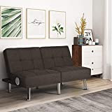 52' Modern Fabric USB Love seat Futon Sofa, Convertible Folding Sleeper Sofa Bed with Sound Machines, Loveseats Couches Furniture for Small Space, Apartment, Dorm, Living Room, Bedroom Brown