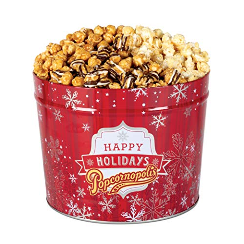 Popcornopolis Gourmet Popcorn 2 Gallon Red Snowflakes Tin - Premium Including Zebra, Caramel and Kettle Corn