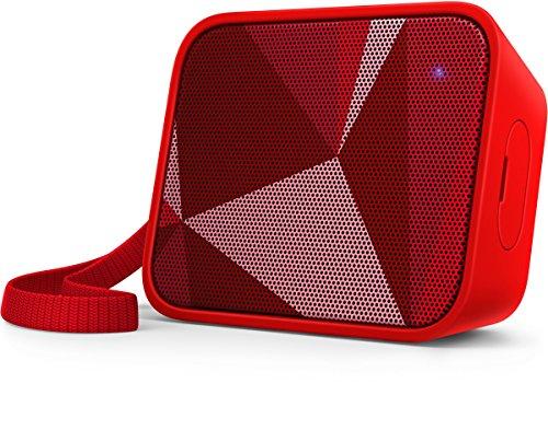 Philips BT110R Enceinte Bluetooth Portable, Étanche éclaboussures, avec Micro, 8h d'autonomie, Rouge