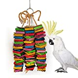 Wood Block Cardboard Chew Toy for Medium Large Bird Parrot Macaw African Greys Cockatoo Eclectus Amazon Parakeet Cockatiel Conure Lovebirds Cage