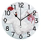 PICOM99 Cute Funny Polar Bear Sliding Down from Snowy Hill Decorative Round Wall Clock Non Ticking Art Painting Clock For Kids Desk Clock Bedroom School Home Decor 10in