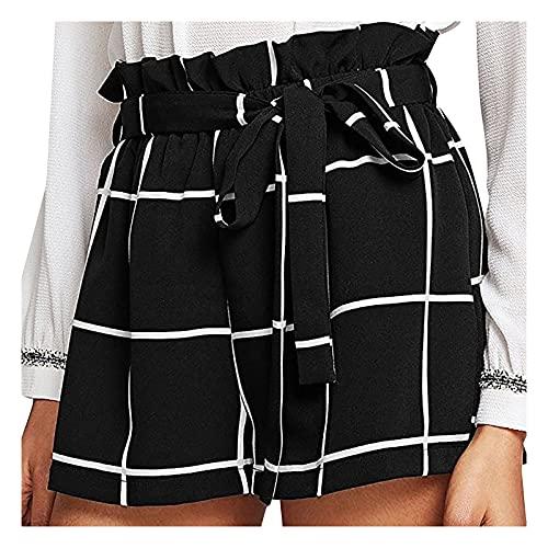 Dasongff Shorts et Bermudas Femme Taille Elastique à Carreaux, Femme Shorts Été Casual Loose Taille Haute Pantalon Court Chic Élégant Bermudas Pantalons de Plage Hot Pants avec Ceinture