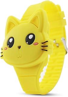 Kids Watch,Girls Watch Digital Cute Cat Shape Yellow LED Fashion Silicone Band Clamshell Design Wrist Watch Girl Gifts