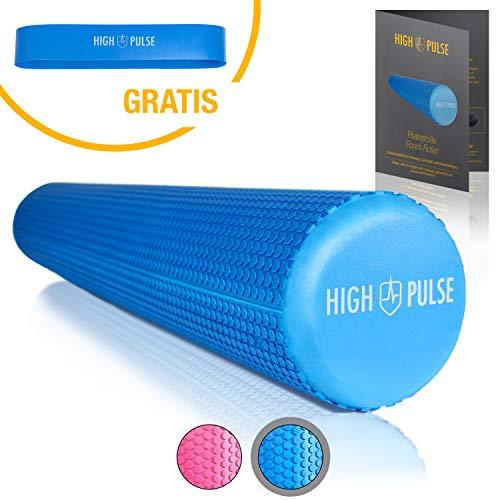 High Pulse® Pilates Rolle inkl. Fitnessband + Gratis Übungsposter – Die multifunktionale Schaumstoffrolle eignet Sich ideal für Muskelkräftigung, Fitness und Massage der Faszien (Blau | 90 x 15 cm)