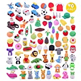 Greentime 90 Different Kids Pencil Erasers, 7 Series 3D Mini Erasers for Kids Birthday Party Supplies Favors, School Classroom Rewards and Novelty Toys Children's Day Gifts for Kids