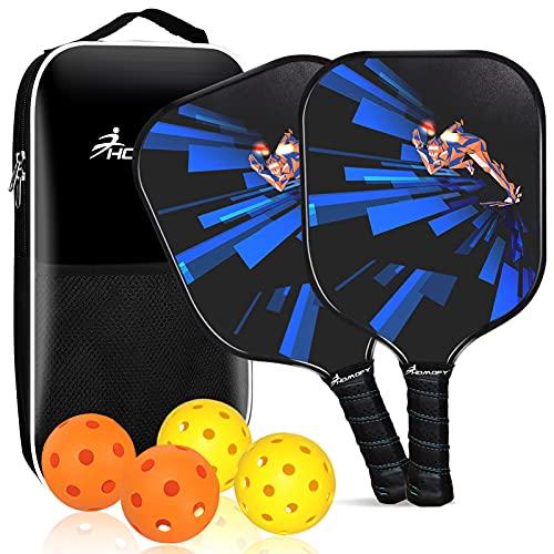 Pickleball Paddles Pickleball Juego de 2 bolas de remo, 4 bolas, bolsa portátil, kit de regalo para hombres, mujeres, niños, interiores y exteriores, principiantes y avanzados