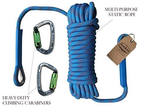 Gazerbrum Auto-locking Klimmen 2 stks Karabijnen voor Rappelling, Hond Leash, Hangmatten, D-Vorm Zilver met Blauwe Statische Touw (20M) voor Fixed-Roping Fire Escape Safety Survival Climbing, CE Gecertificeerd