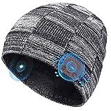 COTOP Bonnet Homme Bluetooth 5.0 Noel Cadeau Gadget, Bonnet Running avec Musique écouteur, Coupe-Vent Chapeau Chaud Hiver Femme pour Ski, Velo, Bonnet Connecté pour Course à Pied,Camping (Gris)