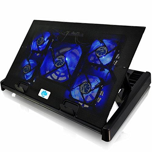 AABCOOLING NC81 - Laptop Ständer mit 2 Lüftern, Einstellbare Neigung und Blau Beleuchtung, Notebook Ständer, Lüfter, Schoßtablett für Laptops bis 17 Zoll und PS4 PRO / XBOX Consolen, Coolpad
