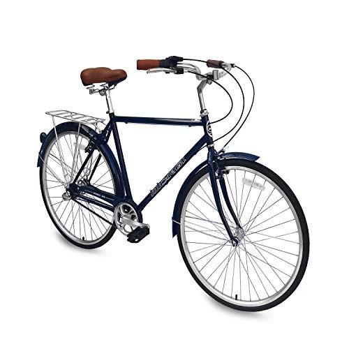 Micargi Roasca NV3 26 inch Men's Shimano Nexus Inter-3 Three Speed City Bike Hi-Ten Steel Frame Black Dark Blue (Dark Blue)