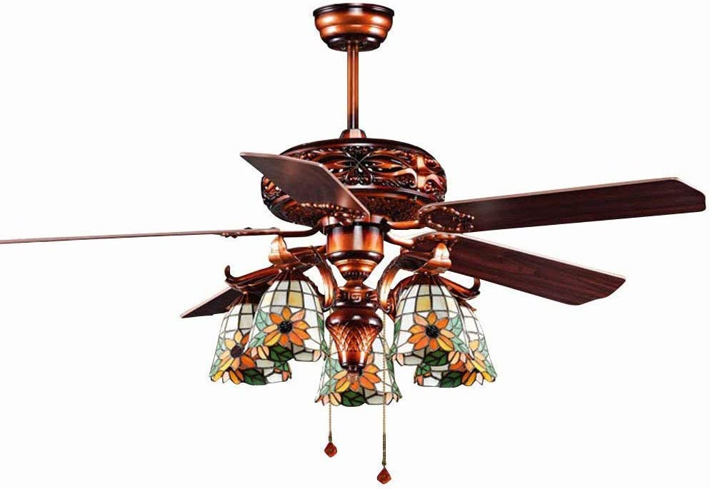 Iluminación Tiffany, ventilador norte europeo y americano, lámpara de cristal, ventilador de techo de hoja de madera, decoración de iluminación elegante diseño único Fan lámpara colgante