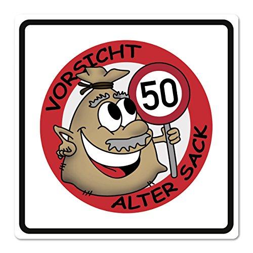 Herz & Heim® PVC Verkehrsschild Alter Sack zum 50. Geburtstag - 50 x 50cm