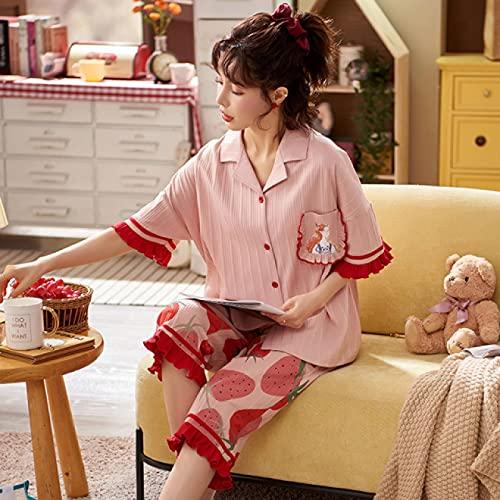 Pijama Conjunto De Pijamas De Algodón para Mujer, Ropa De Dormir De Manga Corta De Verano De Moda, Talla Grande, Cárdigan con Cuello En V Sexy, Ropa De Casa, Ropa De Dormir De Dibujos Animad