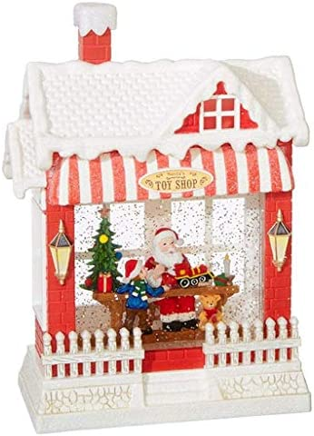 RAZ Imports Santa s Toy Shop Lighted Water House 10 Inch Holiday Snow Globe with Swirling Glitter product image