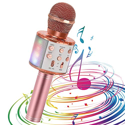 Micrófono de Karaoke Inalámbrico para Niños, EXJOY Micrófono Bluetooth con Luces de Baile LED Compatible con iPhone y Android para KTV en Casa/Fiesta al Aire Libre Micrófono para Cantar Portátil