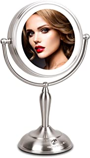 Lighted Makeup Mirror – 1x/10x Magnifying Mirror with Light, 7.5 Inch Makeup Mirror..
