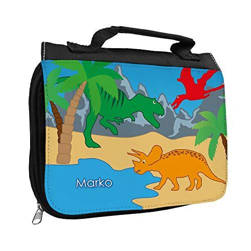 Kulturbeutel mit Namen Marko und Dinosaurier-Motiv für Jungen | Kulturtasche mit Vornamen | Waschtasche für Kinder