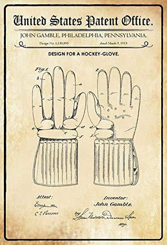NWFS patent ontwerp voor een hockey - handschoen metalen bord bord metalen bord metaal tin teken gewelfd gelakt 20 x 30 cm
