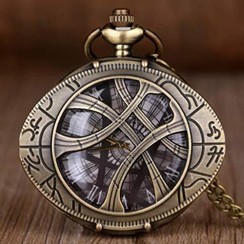 YUTRD ZCJUX Vintage Bronce Ojo de Caja Redonda Forma de Reloj de Bolsillo de Cuarzo joyería Colgante Collar Cadena Regalos para Hombres Mujeres