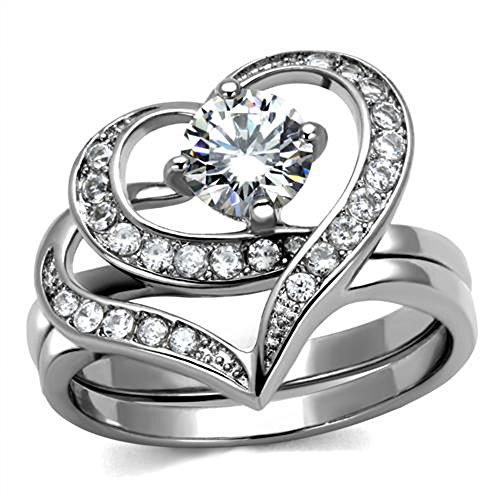 Marimor Jewelry Women's 1.2 Ct Round Cut Cz 2 Piece Heart Shape Stainless Steel Wedding Ring Set Size 5