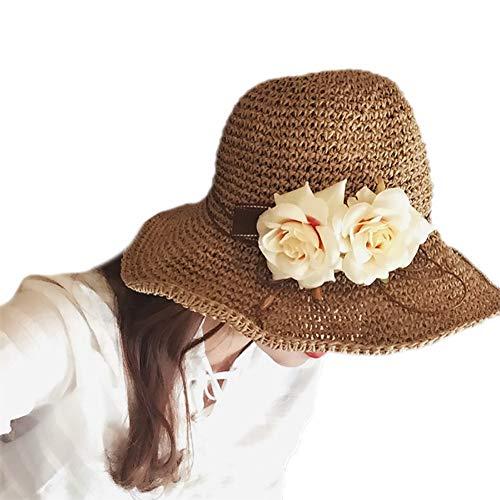 Fablcrew 1Pcs Femme Chapeau de Soleil Chapeau de Paille avec Fleur UV Protection D'été Pliable Chapeau pour Plage Vacance Voyage