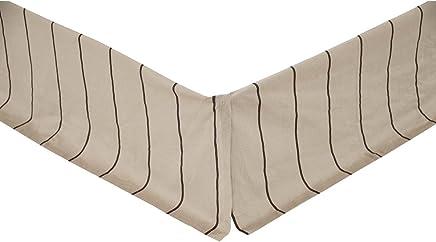 VHC Brands Farmhouse Bedding - Charlotte Tan Bed Skirt,  Slate,  Queen