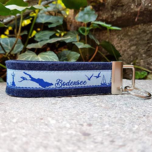 Schlüsselanhänger Schlüsselband Wollfilz dunkelblau Webband Bodensee hellblau Geschenk !