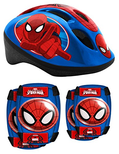 STAMP SAS Combo Spiderman (Helm + Elbow & Knee Pads), Niños, Blue, 5+