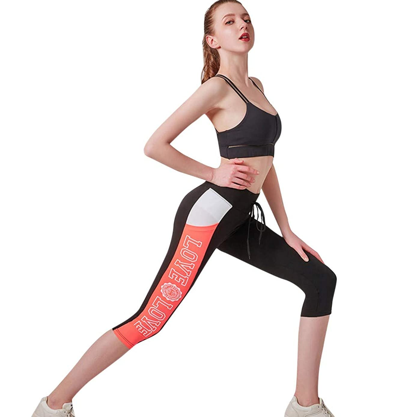 Forthery Womens Yoga Capri Pants Sport Tummy Control Workout Running Tights Jogger Pants Leggings with Side Pocket
