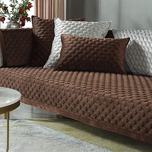 HXTSWGS Cojín de Felpa para sofá, cojín Acolchado de Invierno, Funda de sofá de Tela Antideslizante Brown_90 * 240cm