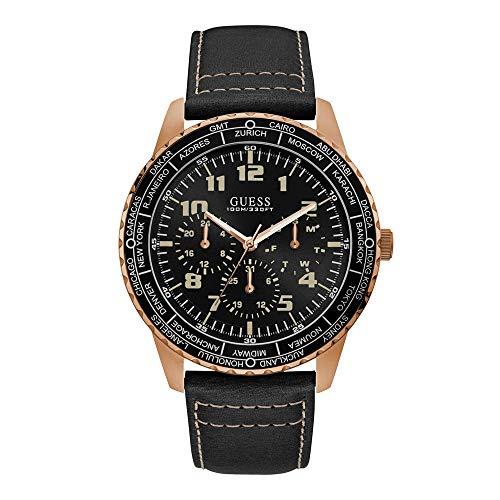 Guess Pioneer - Armbanduhr - Herrenuhr - Multifunktion - Edelstahl - rosegoldfarben - Lederarmband Schwarz
